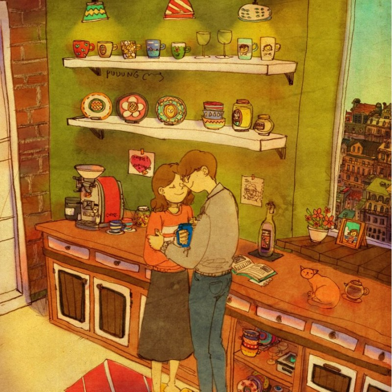 kitchen hug