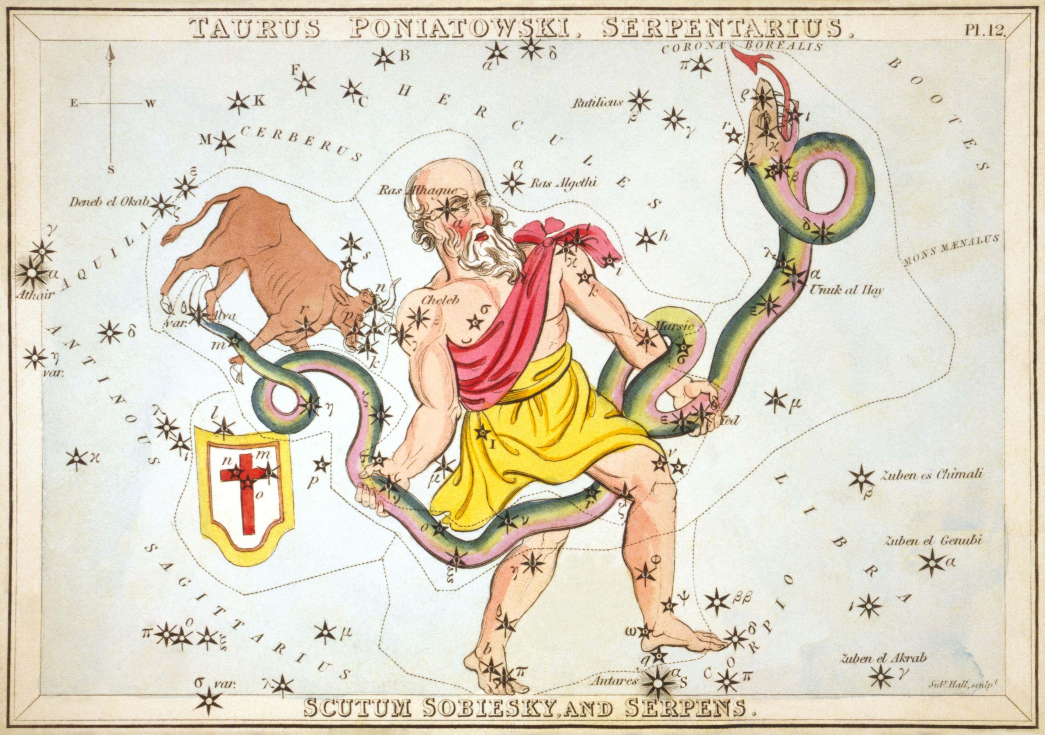 Sidney_Hall_-_Urania's_Mirror_-_Taurus_Poniatowski,_Serpentarius,_Scutum_Sobiesky,_and_Serpens