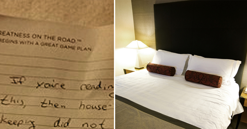 Hotel Guest Finds This Note Between The Bed Sheets Gross