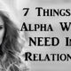 alpha relationship FI