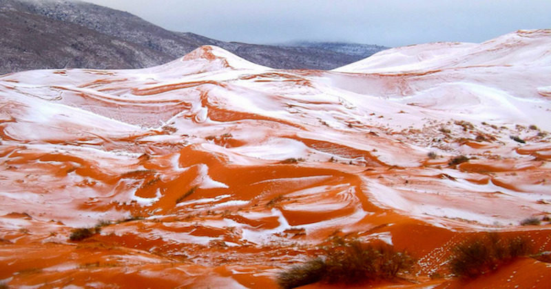 Rare SNOW in SAHARA desert