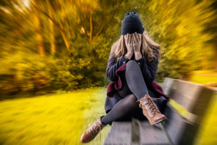 woman anxiety fall