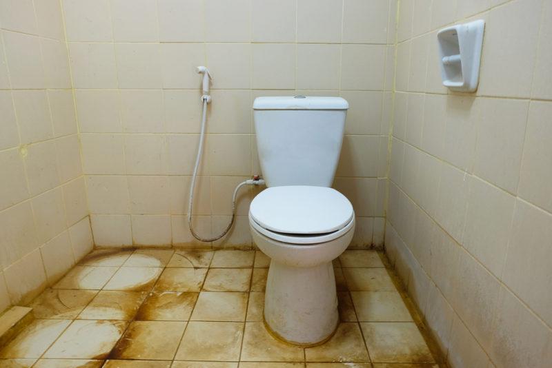 dirty toilet in bathroom