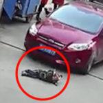 toddler run over car
